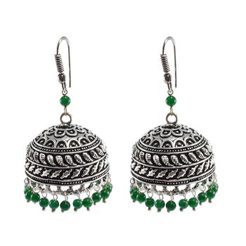 Quartz Gemstone Seductive 21.70 Grams Handmade Alloy Oxidized 3 Mm Green Crystals Jaipur Jhumki Jewellery