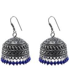 Quartz gemstone Oxidized Handmade Jhumka Earrings-Tribal Jewellery-Jaipur Jhumki