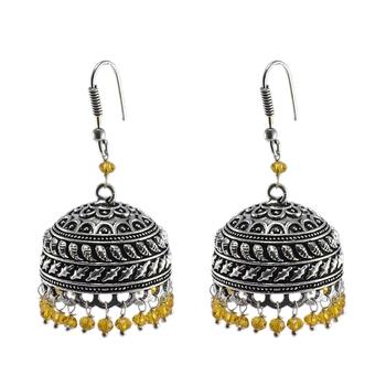 Quartz Gemstone Jhumka Style Earrings With Oxidized Polish And Pink Crystals-Jaipur Grace
