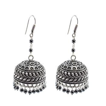 Quartz Gemstone Treated Turquoise Jhumka Earrings-Indian Jewelry-Ethnic Dome Shaped Jhumki