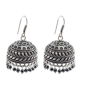 Quartz Gemstone Jaipuri Jhumka-Oxidized Jhumkai- Dome Shaped Mandmade Coral Dangle Chandelier Earring-