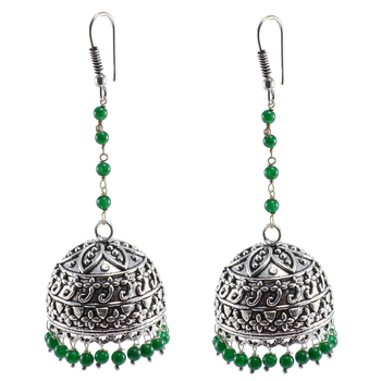 Quartz Gemstone Jaipuri Jhumki-Ethnic Jewelry-Oxidized Jhumka Earrings With Green Beads