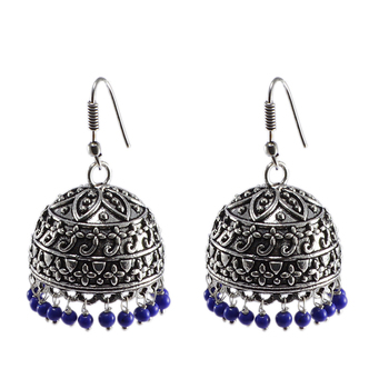 Quartz Gemstone Wire Wrapped Beaded Jhumka Earrings, Urban Tribal Reconstituted Lapis Danglers-
