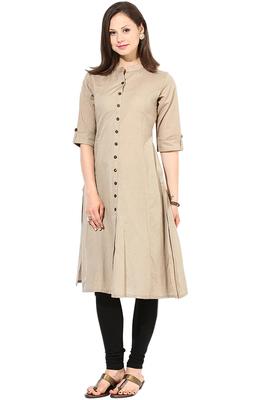 latest long khakhi color plain cotton fabric kurta