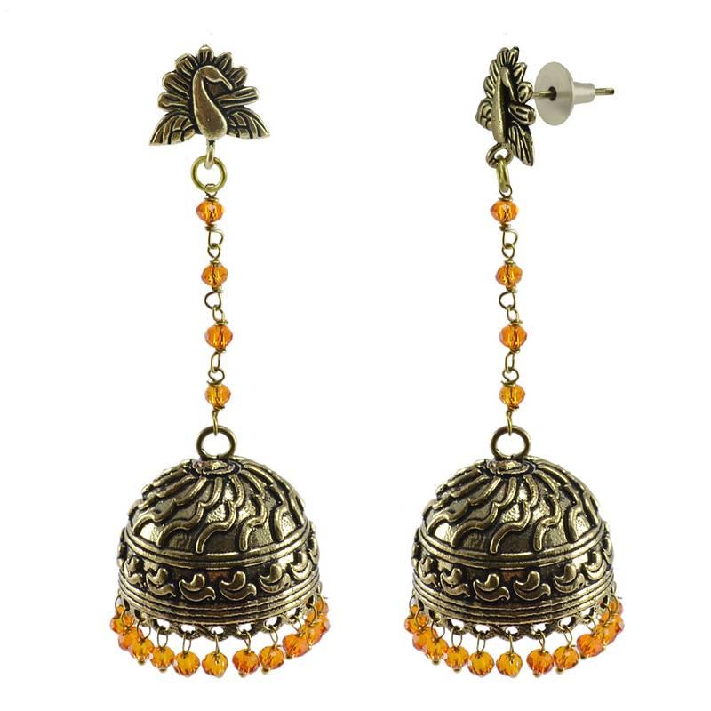 Kanjivaram Beads: Gemstone Vintage Japuri Crafted Jewellery-Peacock Jhumki
