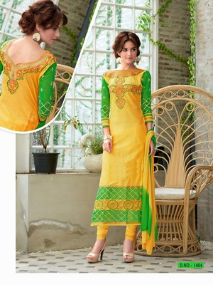 Yellow and  green glaze cotton embroidered unstitched salwar with dupatta