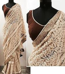 Buy Cream embroidered net saree with blouse black-friday-deal-sale online