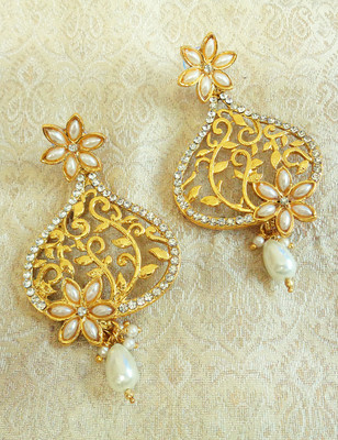 White gold plated danglers drops
