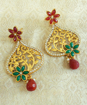 Multicolor gold plated danglers drops