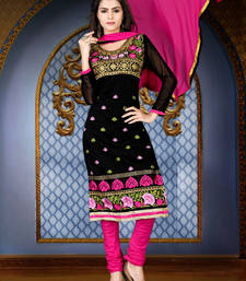 Buy black embroidered chanderi unstitched salwar with dupatta dress-material online