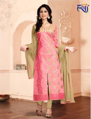 Pink embroidered Cotton unstitched salwar with dupatta