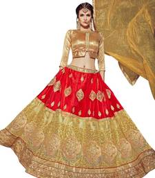 Buy Red embroidered net unstitched lehenga
