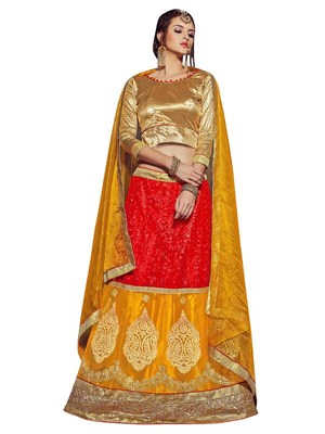aba7877cad1 Yellow embroidered net unstitched lehenga - MANVAA - 1586377