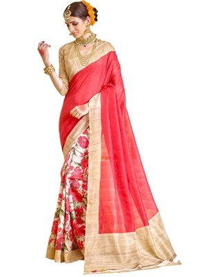 Pink and beige floral printed silk saree with blouse