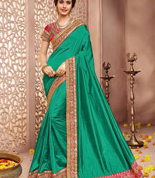 Buy sea green embroidered silk saree with blouse silk-saree online