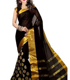 Buy Black embroidered saree with blouse chanderi-saree online