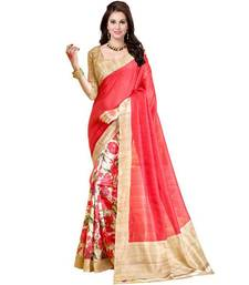 Buy pink printed silk saree with blouse Woman online