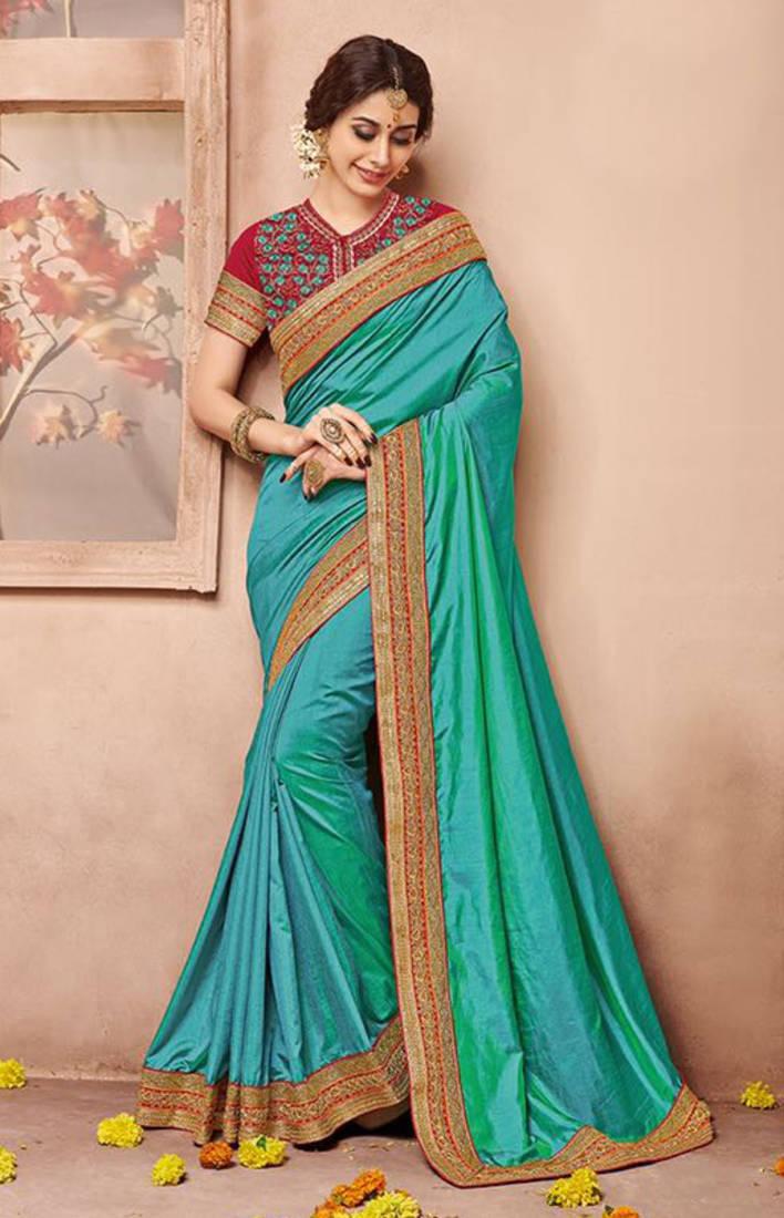 Dark Sea Green Embroidered Silk Saree With Blouse Manjubaa