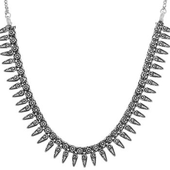Sizzling Silver plated oxidised necklace