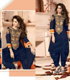 Buy Blue embroidered geprgette semi stitched salwar with dupatta patiala-salwar online