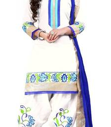 Buy White embroidered geprgette semi stitched salwar with dupatta patiala-salwar online