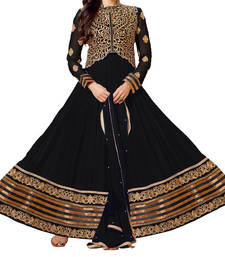 Buy Black dori embroidery georgette semi stitched salwar with dupatta salwars-and-churidar online