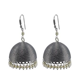 Pearl Gemstone Oxidized Handmade Jhumka Earrings-Tribal Jewellery-Jaipur Jhumki