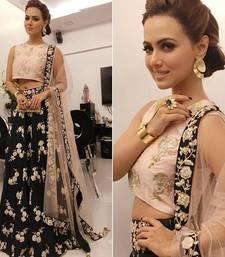 Buy Black embroidered Net semi stitched lehengas with dupatta bridal-lehenga online