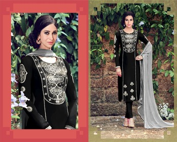 Black cotton embroidered semi stitiched salwar with dupatta