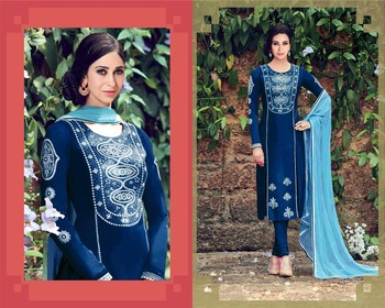 Blue cotton embroidered semi stitiched salwar with dupatta