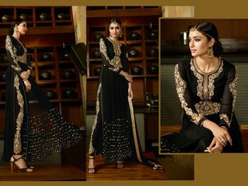 Black georgette embroidered semi stitiched salwar with dupatta