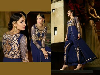 Blue georgette embroidered semi stitiched salwar with dupatta