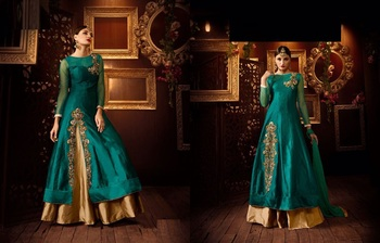 Green silk embroidered semi stitiched salwar with dupatta