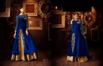 Blue silk embroidered semi stitiched salwar with dupatta