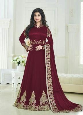 Maroon silk embroidered semi stitiched salwar with dupatta