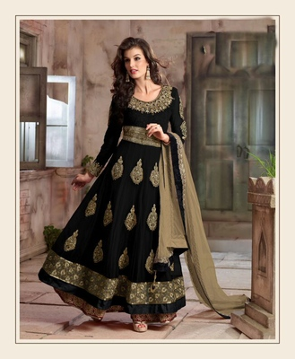 Black net embroidered semi stitiched salwar with dupatta