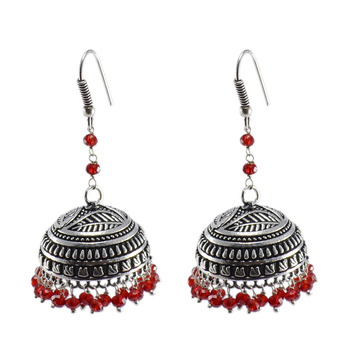 Gemstone Beautiful Ethnic Large Oxidized Jhumka With Red Crystal Beads-Handcrafted Tribal Jewelry-