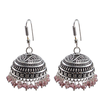 Gemstone Explicative Amethyst Crystal Alloy Oxidised Traditional Jhumki Earrings-Jaipur Jewelry With Tribal Collection