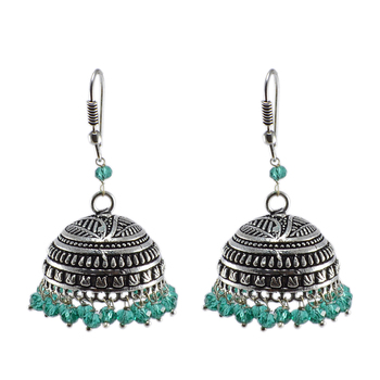 Gemstone Green Aqua Crystal Beaded Tribal Crafted Jhumki Hook Earrings