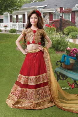 fc87e6970843 red embroidered brocade kids lehenga choli - MahaveerCrafts - 1589412