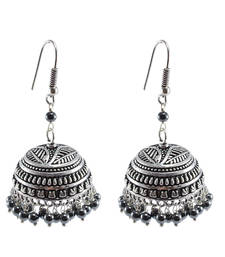 Gemstone Exotic Elegance Hematite Jhumki Earrings-Banjara Rajasthani Jewelry