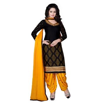 Black cotton embroidered unstitched salwar with dupatta