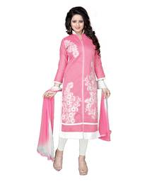 Buy Pink Cotton embroidered unstitched salwar with dupatta dress-material online