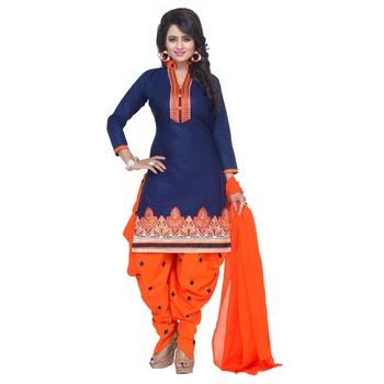 Blue cotton embroidered unstitched salwar with dupatta