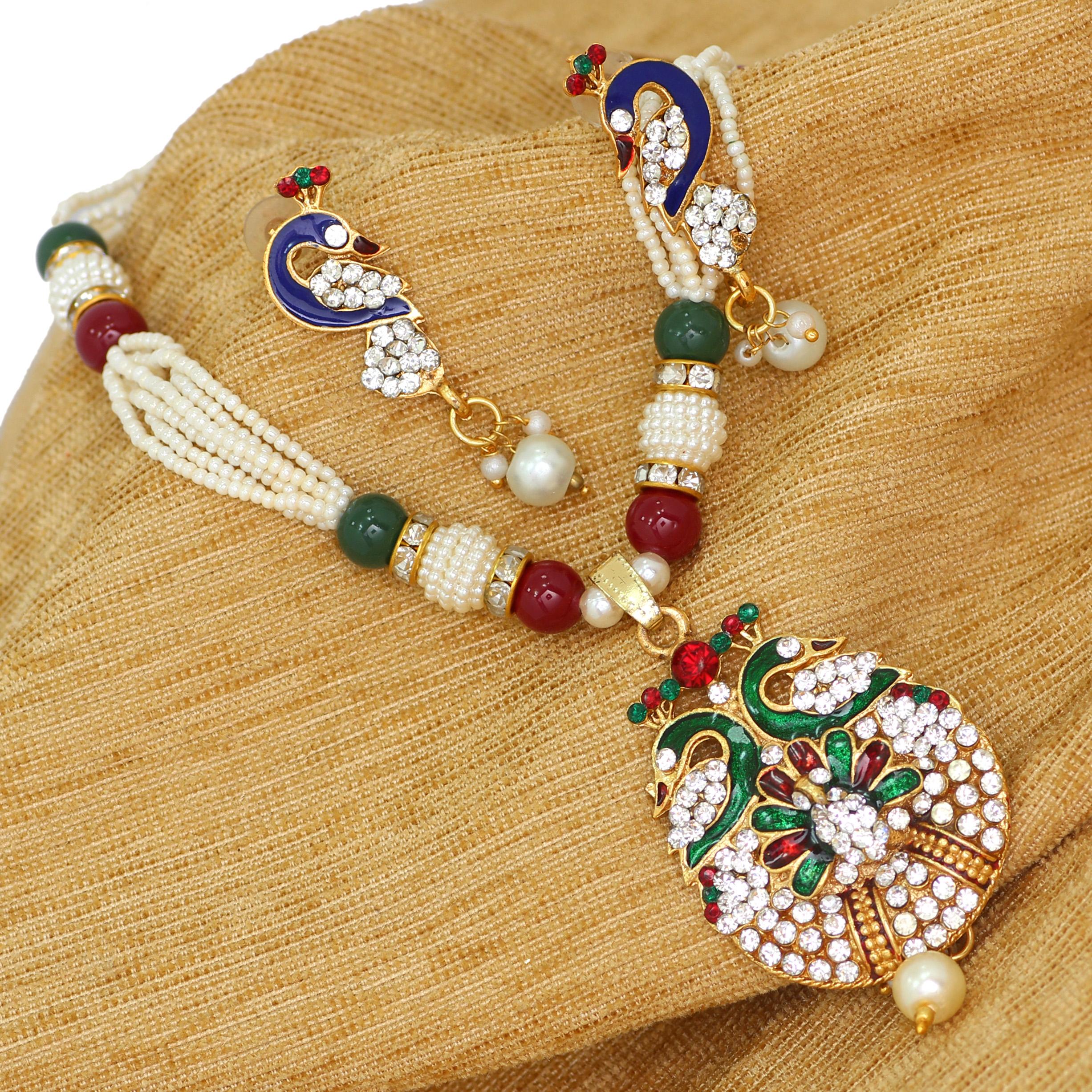 d627ea9cfa66f Handmade seeds beads string with meenakri work pendant set women necklace  set