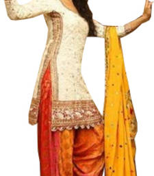 Buy White dori embroidery georgette semi stitched salwar with dupatta semi-stitched-salwar-suit online