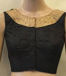 Buy Black Dupion Silk stitched Blouse readymade-blouse online