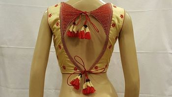 Cream and Red Dupion Silk stitched Blouse