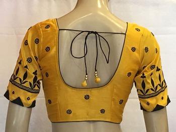 Yellow Dupion Silk stitched Blouse