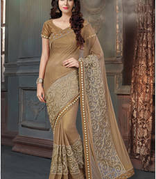 Buy Brown embroidered lycra saree with blouse party-wear-saree online